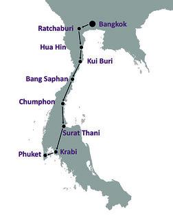 Hotel 10-tägige Südthailand-Rundreise Landkarte