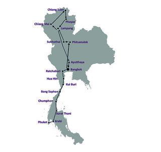Hotel 14-tägige Thailand-Rundreise Landkarte